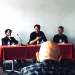 O autor no evento de Lisboa, com o apresentador Mário Gomes e o editor Wagner Merije